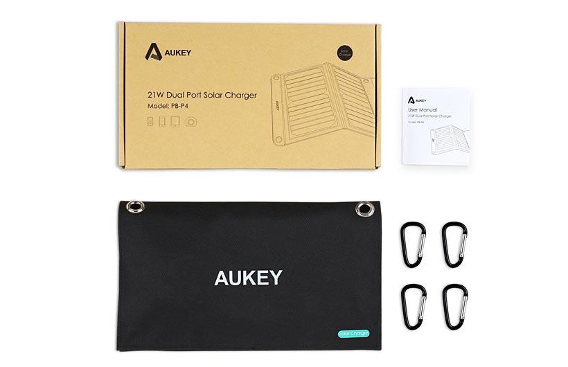 Caricabatterie solare AuKey 21W con 2 porte USB
