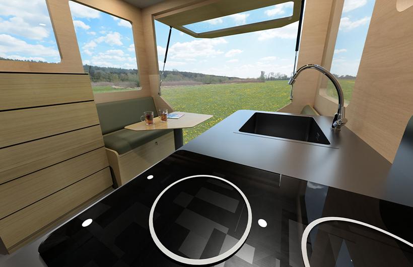 casa mobile su ruote in legno cucina